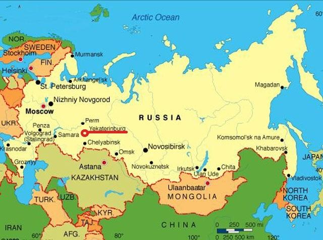 Yekaterinburg im riesigen Russland