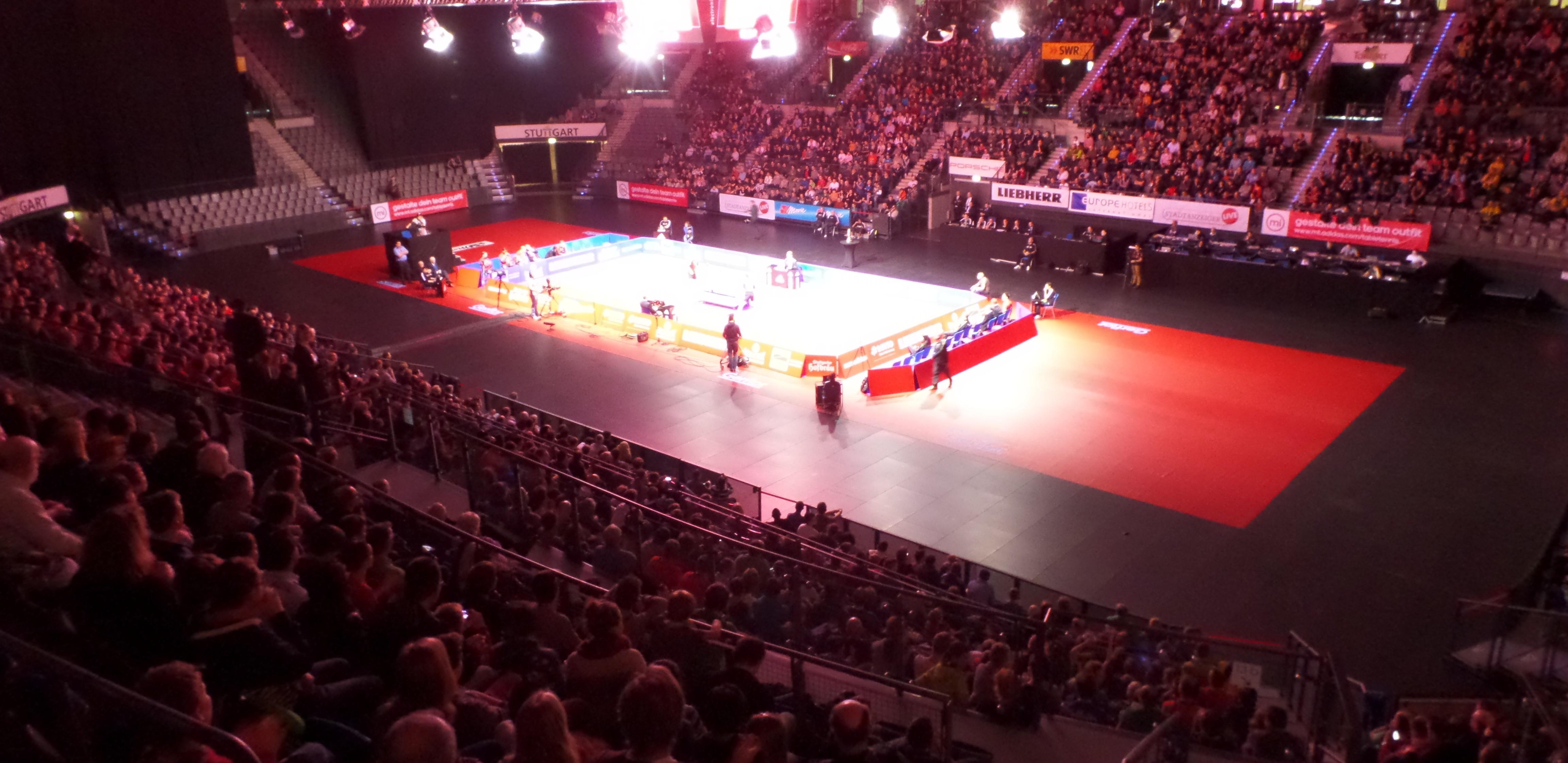 Ein Blick in die Porsche-Arena beim Finale Borussia Düsseldorf - TTC RhönSprudel Fulda-Maberzell