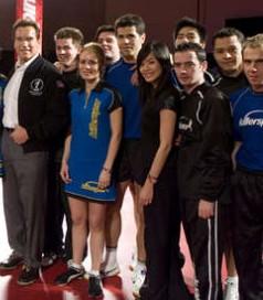 Thomas Keinath ganz rechts mit einigen anderen Spielern und Arnold Schwarzenegger